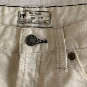 Free People White Cut-off Jean Shorts